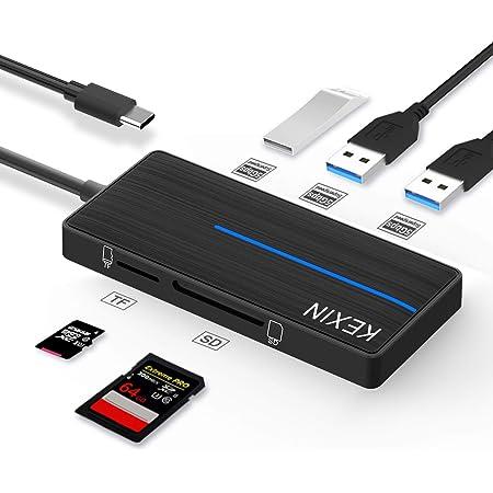 KEXIN HUB USB C 5 en 1 Adaptador Multiple HUB con 3 Puertos USB 3.0 y Lector de Tarjetas SD/TF Transferencia de Datos de 5 GB/s para PC, Tableta, Windows, Mac OS, Linux (Negro)