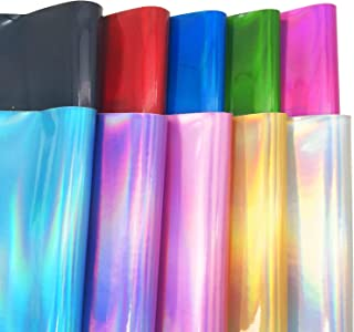 """ZAIONE Smooth Holographic Mirrored Plain Faux Leather Sheets 10pcs/Set 8"""" x 12"""" (20cm x 30cm) Laser Metallic PU Synthetic Leather Fabric for Bow Earrings Making Material DIY Craft (10 Colors)"""