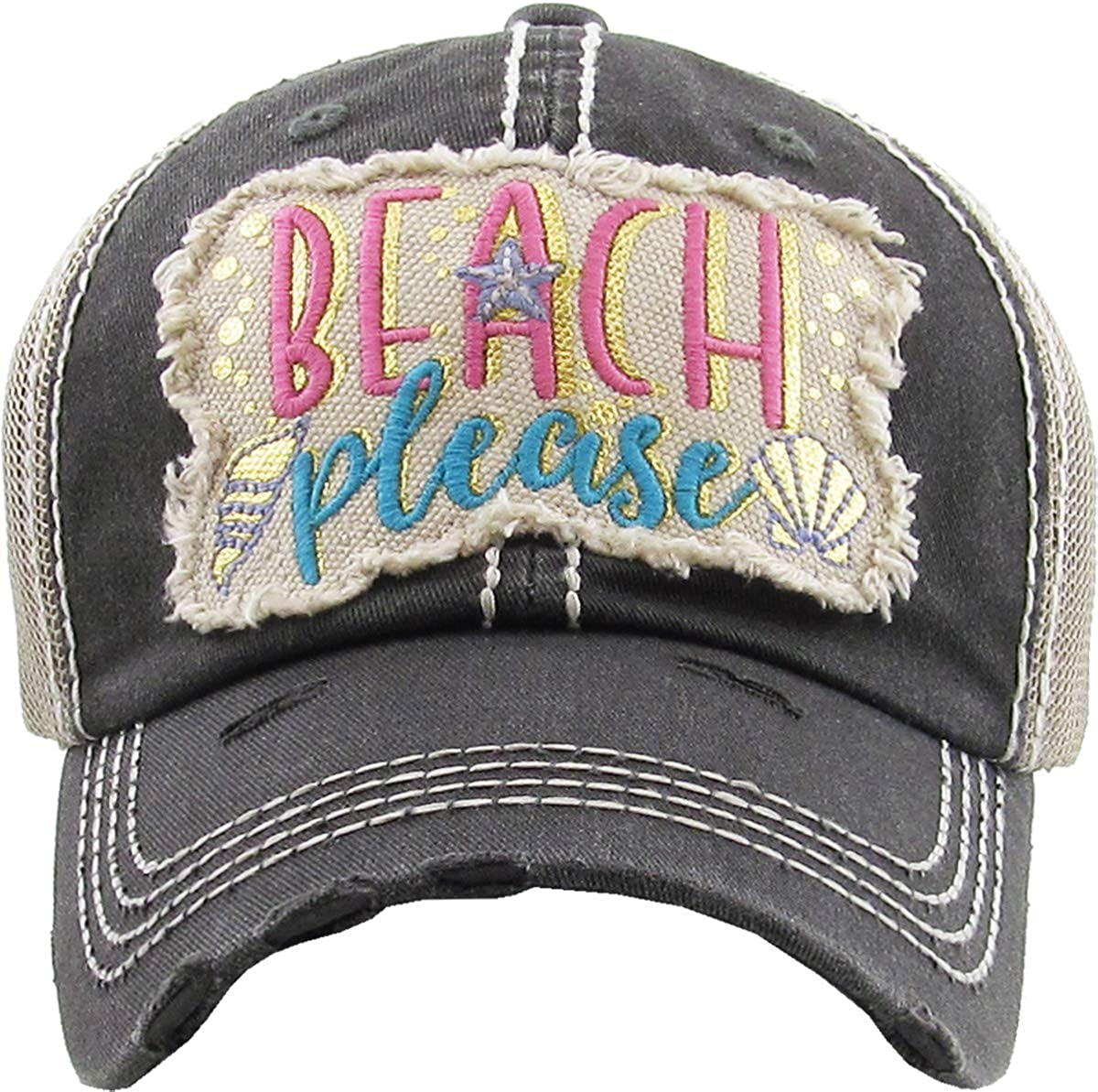 Funky Junque Womens Baseball Cap Distressed Vintage Unconstructed Embroidered Patch Hat