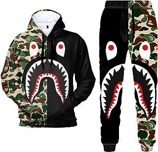 3D Print C-amo S-Hark Hoodies and Pants Fashion Causal Sport Suit for Men Women