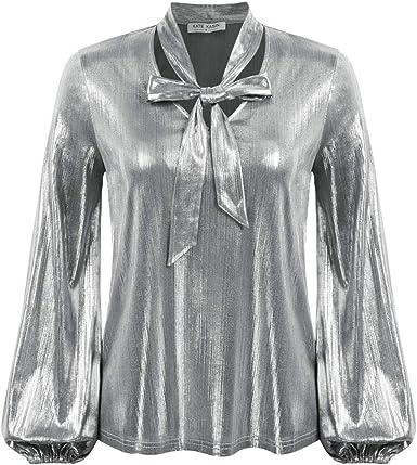 Camisa Brillante Tipo Metalizado de Manga Larga con Cuello en V y Nudo de Lazo para la Oficina del Club KKS02124