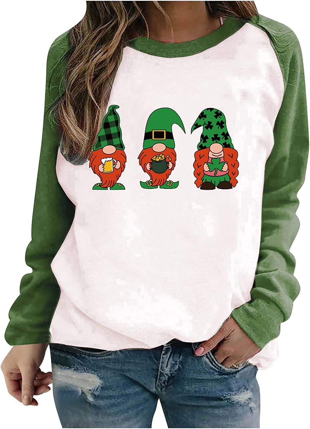 Women Gnome Shirt Long Sleeve St. Crewneck Top Popular shop is the lowest price challenge Tee overseas Patrick's Day