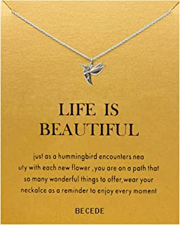 BECEDE Friendship Clover Necklace Unicorn Good Luck Elephant Butterfly Palm Aliens Lotus Cat-Ears Lucky Bird Pendant Necklace with Message Card Gift Card