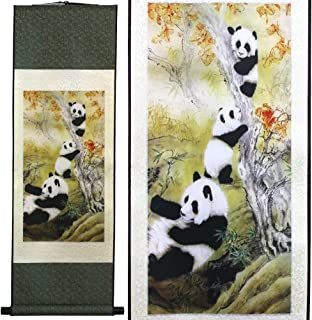 SweetHome Asian Silk Scroll & Picture Scroll & Wall Scroll Calligraphy Hanging Artwork (Panda)