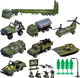 Fycooler Die-cast Vehicles,8 Pack Assorted Alloy Metal Military Army Battle Car Toys Vehicle Playsets Models,6 Pcs Soldier Army Men,Mini Army Toy Tank/Jeep/Tanker Truck Aircraft Gift for Kids Boys