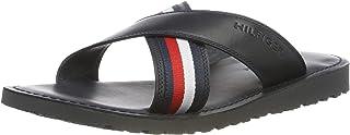 Tommy Hilfiger Men's Criss Cross Leather Sandal Flip Flops