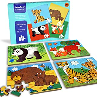 BEESTECH Elementary Jigsaw Puzzles for Toddlers 2、3、4 Years Old, Toddler Animal Puzzles 4 Pack with Panda, Bear, Fox, Tige...