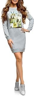 oodji Ultra Mujer Vestido de Estilo Deportivo con Estampado