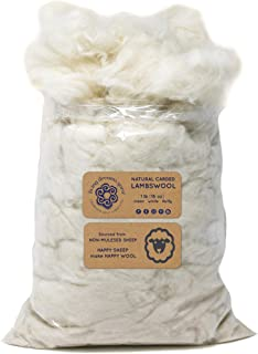 LAMBSWOOL Natural White Clean Fluffy Classic Fiber for Toy Stuffing & Filling - 1 LB Bag