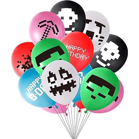 INTVN Articoli per Feste per Videogiochi Happy Birthday Striscioni di Gioco 12 Modelli Diversi 24PCS Palloncini per Videogiochi Palloncini Compleanno da 12 Pollici per bomboniere da minatore
