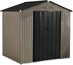 MUPATER 6' x 4' Garden Storage Shed for Outdoor with Foundation, Metal Utility Tool Shed Kit for Backyard with Two Doors a...