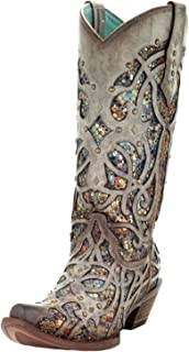 CORRAL C3409 Taupe Multicolor Inlay and Studs Boots