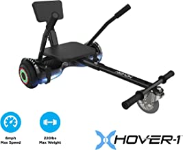 Hover-1 Chrome Electric Hoverboard Scooter and Go-Kart Attachment Combo (2 piece set)