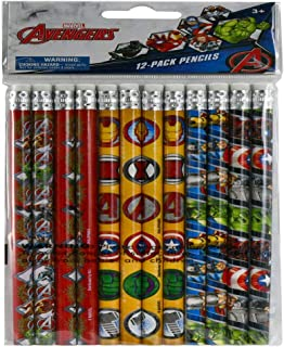 Marvel Pencils Avengers Ironman Thor Captain America Hulk 12pcs Superhero Party Favors for Kids Multicolored Pen Heroes Bulk Collection Drawing Pencil - School/Office Stationery Supply