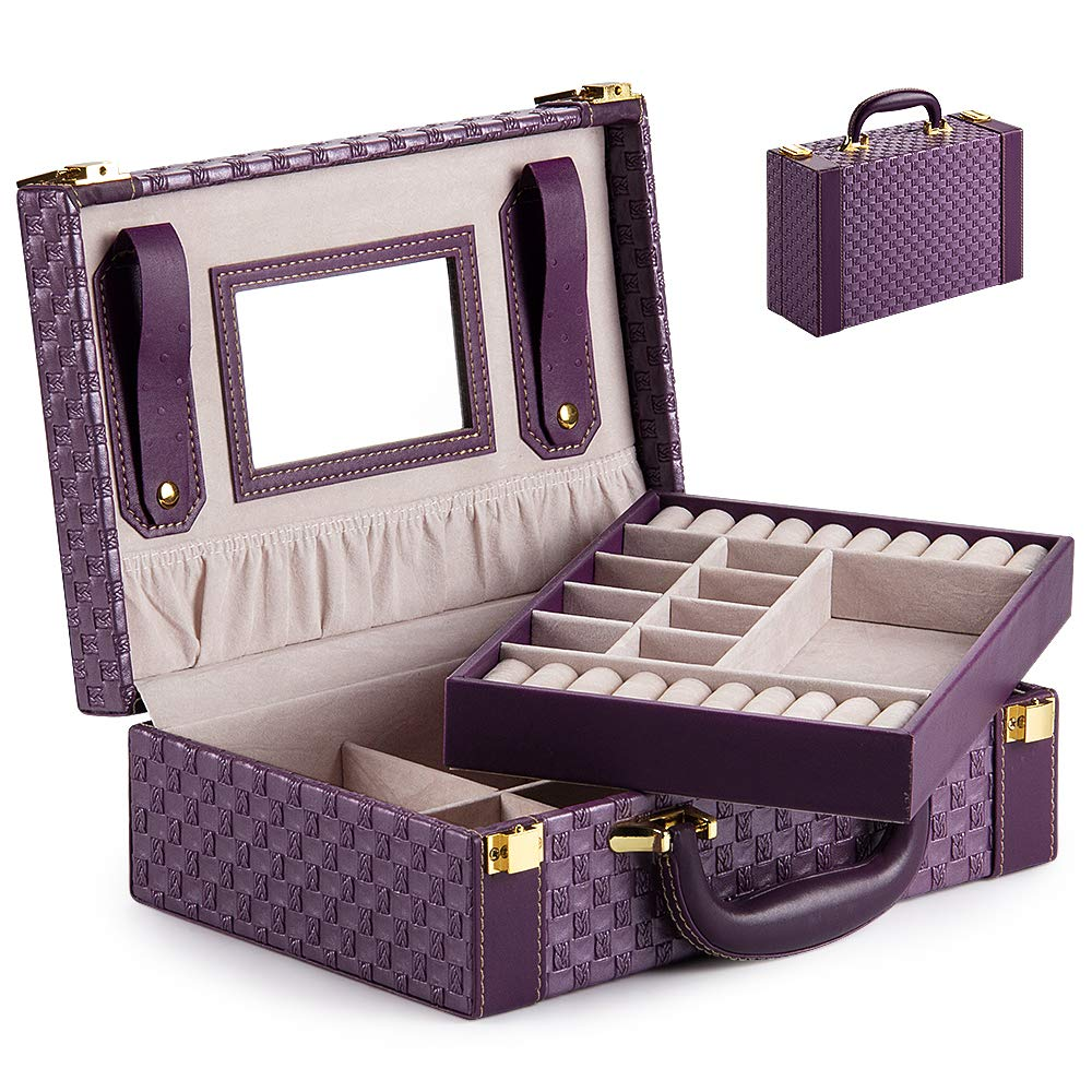 SONGMICS JBC232GY 2 Tier PU Jewellery Box with Removable and Hinged Travel Box with Mirror on Lid Grey