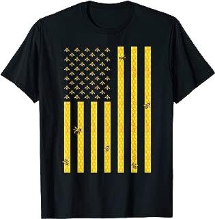 American Flag Honeycomb Honey Bee Beekeeping Beekeeper Gift T-Shirt