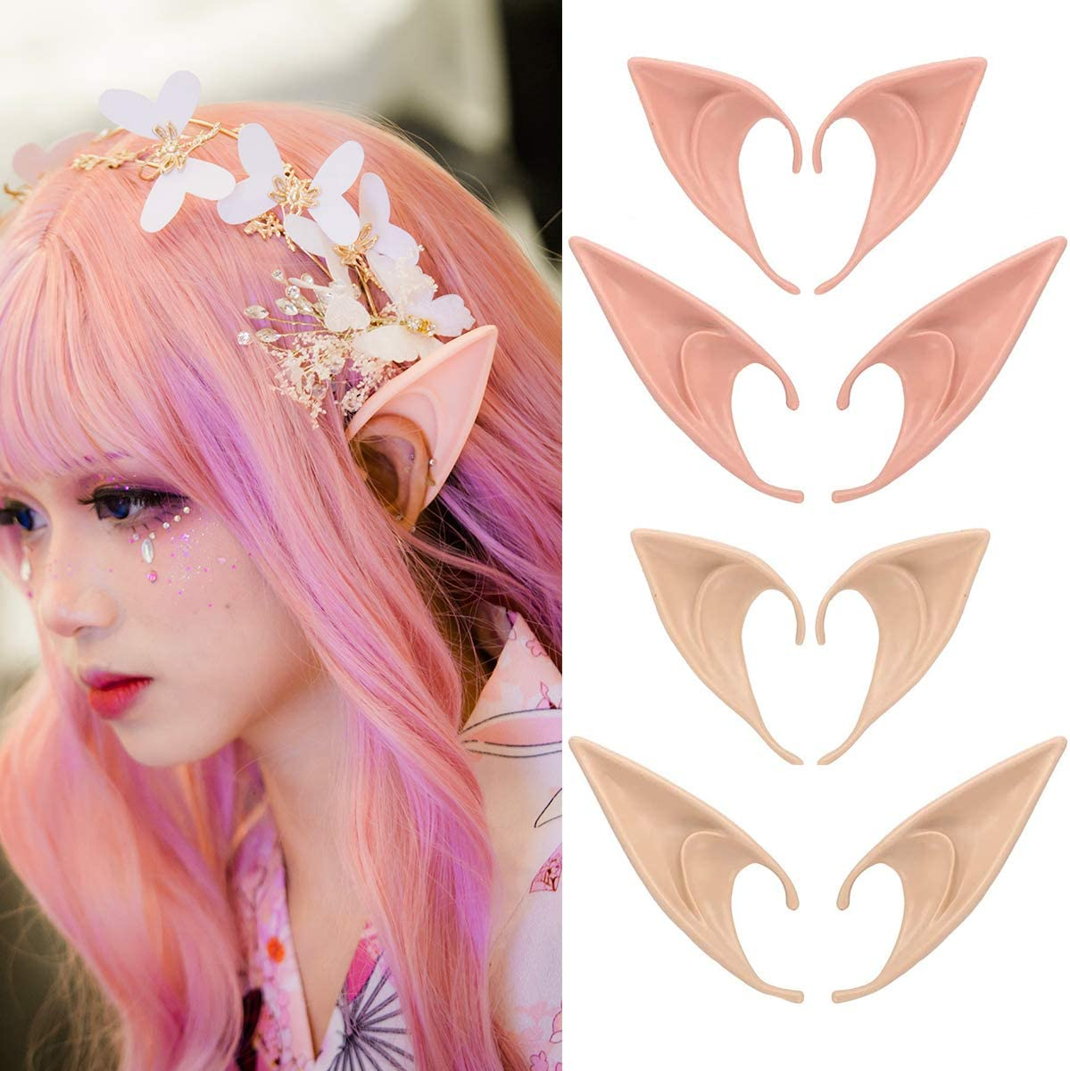 Halloween Party Latex Fairy Pixie Elf Ears Cosplay Pointed Prosthetic Tips Ear