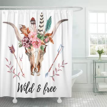 70 Inches Crossed Ethnic Arrows with Wild and Free Motivation Quote Primitive Illustration Black Teal sc/_25897 Fabric Bathroom Decor Set with Hooks Ambesonne Tribal Shower Curtain