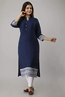 UrbanEra Women's Solid Rayon Calf Length Blue Kurta