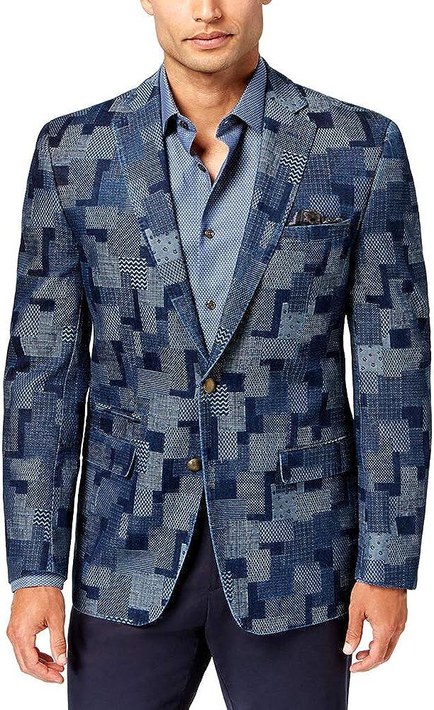 Tallia Mens Patchwork Two Button Blazer Jacket
