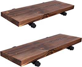 Y&ME Wall Mounted Floating Shelves with Industrial Pipe Brackets, Set of 2 Solid Pine Wood Pipe Shelf,Dark Walnut Color, 23.6 Inch and 19.7 Inch Length x 7.5 Inch Wider