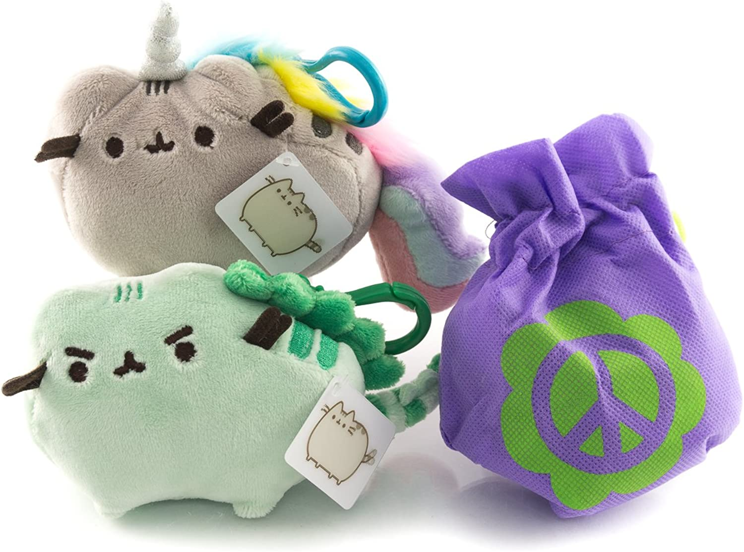 "Pusheen Pusheenicorn and Pusheenosaurus   Plush Pusheenicorn Backpack Clip and Pusheenosaurus Backpack Clip Gift Combo   4.5"" Pusheen Plush Backpack Clips with Tote   Reusable Non-Woven Tote Bag"
