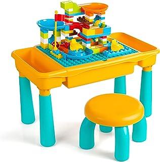 Czemo Tavolo Multi-attività per Bambini 6 in 1, Tavolo da Gioco Sabbia e Acqua, Tavolo da Costruzione per Ragazzi e Ragazz...