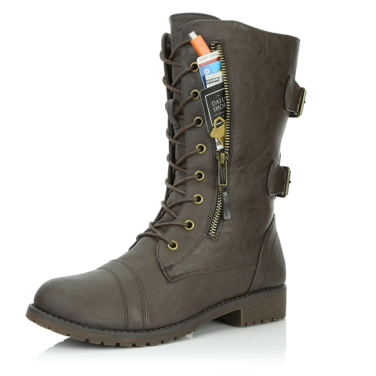 DailyShoes Women's Military Lace Up Buckle Combat Boots Mid Knee High Exclusive Credit Card Pocket, Brown Pu, 5.5 B(M)