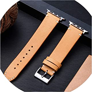 WatchBand Compatible for Watch Series 4/3/2/1 Strap Compatible for 38mm 42mm Cow Leather Wristband Compatible for Watch Band 40mm 44mm