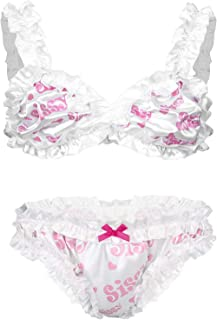 Freebily Mens Sissy Ruffled Lingerie Set Lace Trim Bra Top with Crossdress Panties Underwear