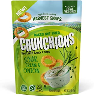 Harvest Snaps Red Lentil Crunchions Sour Cream Onion 2.5 Oz Pack PlantBased Baked Never Fried No Artificial Flavors or Pre...