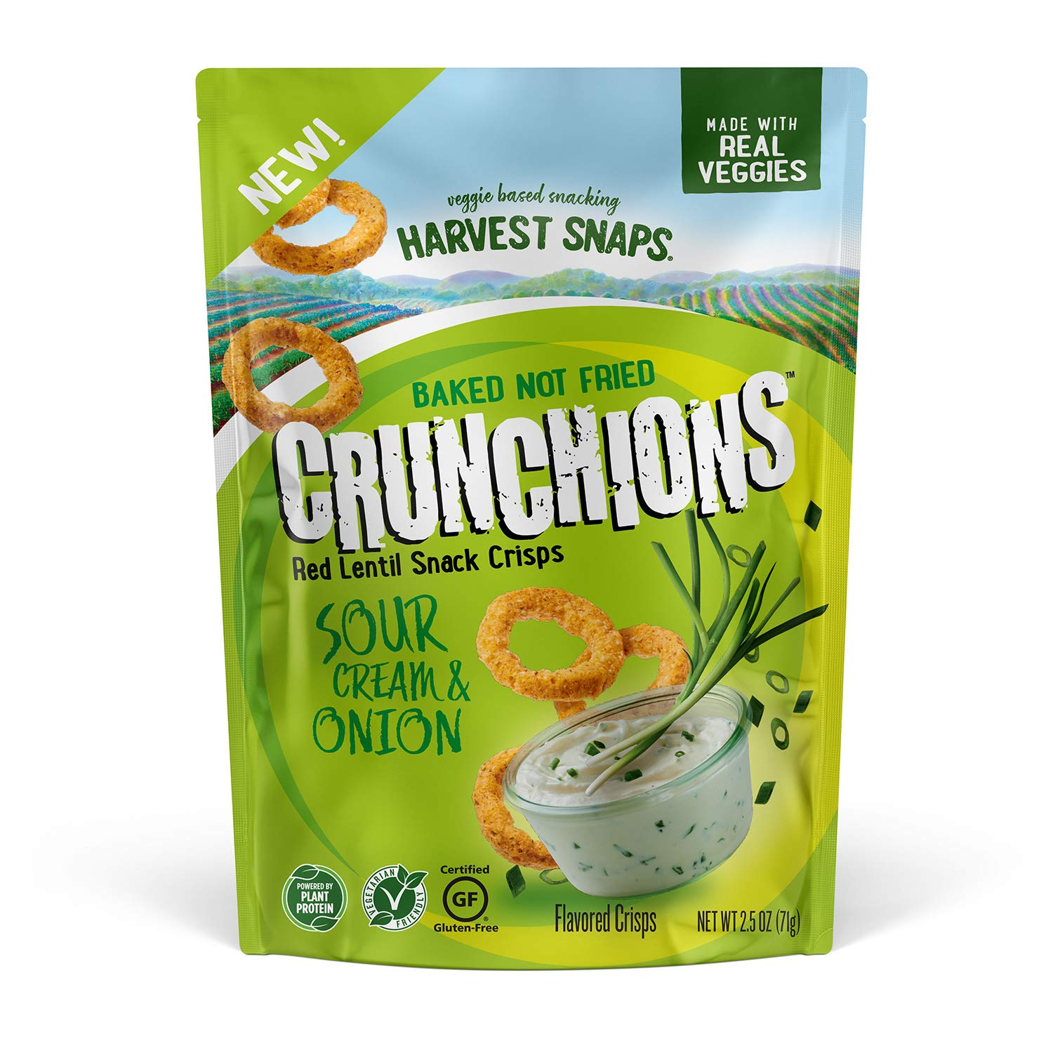 Harvest Snaps Red Lentil Crunchions Sour Cream Onion 2.5 Oz Pack PlantBased Baked Never Fried No Artificial Flavors or Preservatives 3, 3 Count