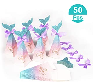 Hiverst 50pcs Mermaid Party Favors Box Sets, Nautical Wedding Candies Containers with Glitter Tail for Kids, Baby Shower Decorations, Birthday Party Gift Box for Goodies Supplies