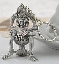 Taille Unique * Femme Sourcingmap M/étal T/ête De Mort Squelette Main Pendentif Fendu Porte-cl/é D/écoration