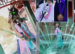 Ipara 高品质豪華版2020美品 実物撮影法器+ ネックレス+袖カバー+肩飾り+足飾り付き 原神(Genshin) ウェンティ魈 コスプレ衣装 ウィッグ、靴 武器 追加 (S)