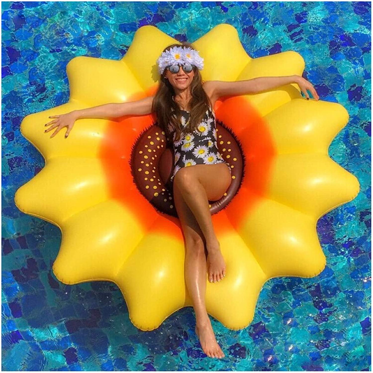 OToys Swimming Pool Floats for Adults Sunflower Inflatable Pool Lounger Outdoor Large Water Raft Summer Pool Island Fun Beach Floats Swim Party Toys