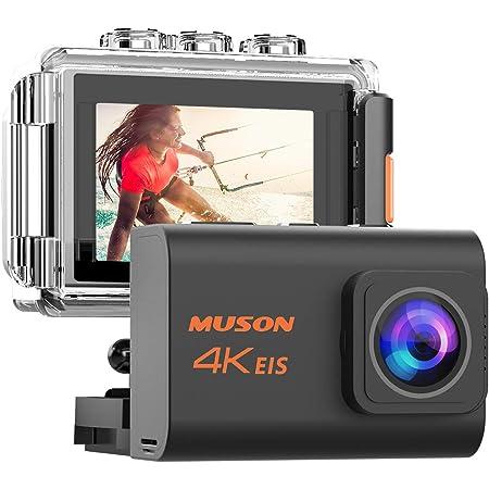MUSON(ムソン) アクションカメラ 4K 高画質 手振れ補正付き WiFi搭載 リモコン付き 外部マイク対応 40M防水 2000万画素 170度広角レンズ 2インチ液晶画面 HDMI出力 水中カメラ 防犯カメラ スポーツカメラ ウェアラブルカメラ 自撮り棒付き 1200mAhバッテリー2個付き [メーカー1年保証] Pro3 (ブラック)