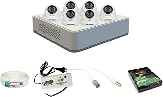 Hikvision 2MP 8 Ch HD DVR & 2MP 6 Dome Camera HD Combo kit, Include All Require Accessories for 6 Camera Installation