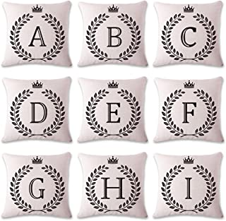 Coliang Letter K Pillow Case, Letter Cushions Cover Blend Cotton English Alphabet Cushion Decorative Pillows Wheat Throw Pillow Cushion 18x18 Inch(45x45CM) - Letter K