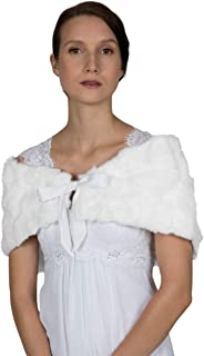 OBURLA Women's Real Rex Rabbit Fur Stole with Ribbon Tie Closure | Soft and Luxurious Genuine Fur Shawl | Bridal Evening Cape