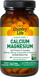 Country Life Target-Mins Calcium Magnesium w/ Vitamin D - 360 Vegan Capsules - Formulated To Maximize Calcium Absorption