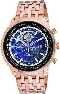 Seapro Men's Meridian World Timer GMT Quartz Stainless Steel Strap, Rose Gold, 22 Casual Watch (Model: SP7321)