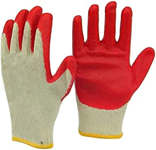 Safety Grip Protection Gloves Economical String Knit Latex Dipped Palm Gloves, Nitrile Coated Work Gloves for General Purpose, One Size, Red (10 - Pack)