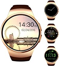 Smart Watch 1.5 inches IPS Round Touch Screen Smartwatch Phone with SIM Card Slot Sleep Monitor Heart Rate Monitor and Pedometer for iOS and Android Device (Gold)