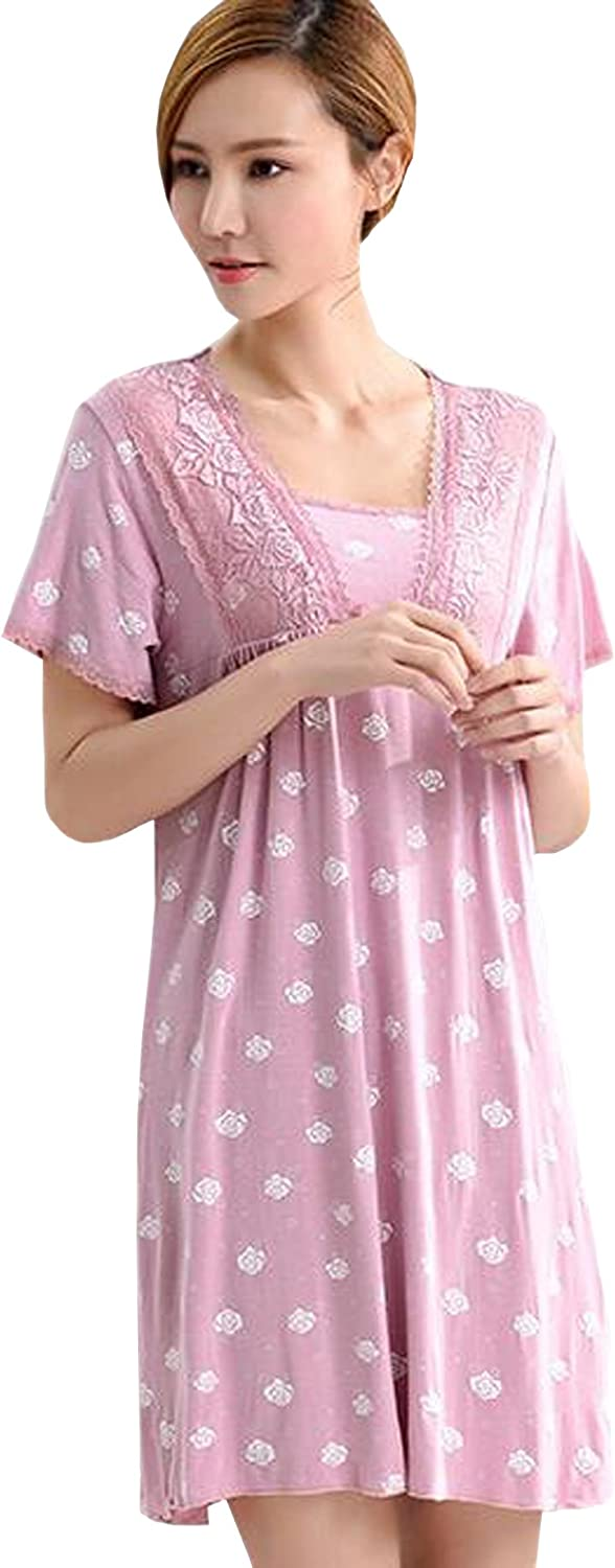 HFSMD Summer Middleaged Ladies Flowers Printed Pajamas Thin Section Nightgrown