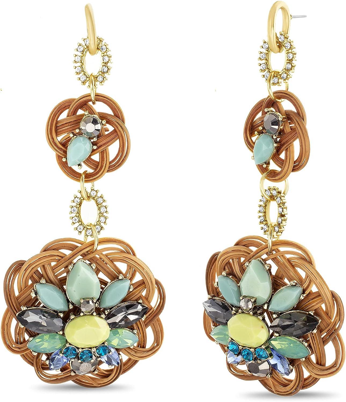Badgley Mischka Brown Rattan Disc Green Rhinestone Dangle Earrings for Women