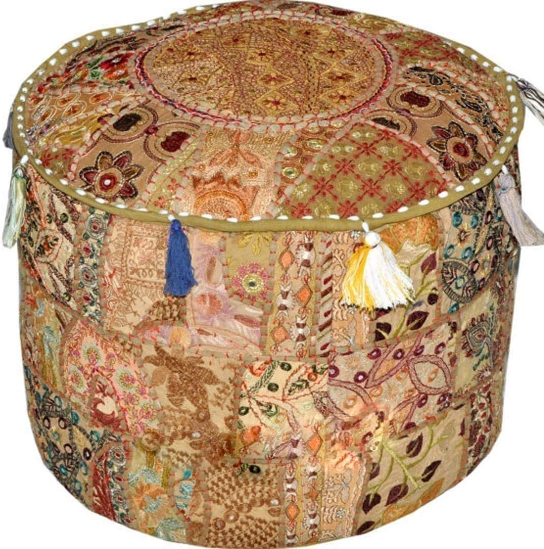 Radhy krishna fashions Indian Vintage Special price Ottoman Pouf 5 popular Patchwo Cover