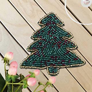 Christmas Tree Beaded Coaster 4 Inch - Tea Coaster, Coffee Coaster, Dinning Table Accessories, Wedding Decoration, Dining & Serving Party Decor, Christmas Gift Art- Set of 6 - Green Gold
