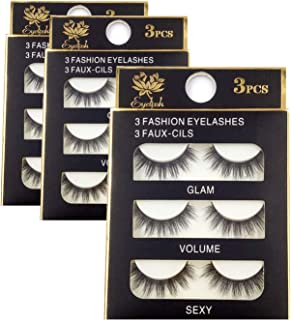 NEPAK 9 Pairs 3D False Eyelashes Fake Eyelashes Extension Synthetic Fiber Material Natural Round Look Reusable for Women's Make Up Handmade Soft Fake Eyelash