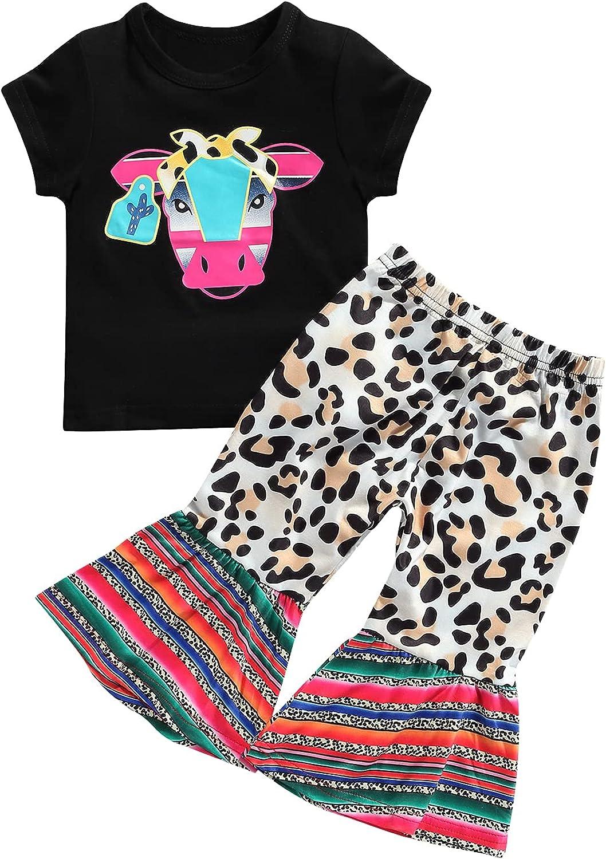 Toddler Baby Girl Clothes Long Sleeve Cow Print OutfitT-Shirt + Flare Pants Bell-Bottom Tie Dye Leggings Set 0-4T